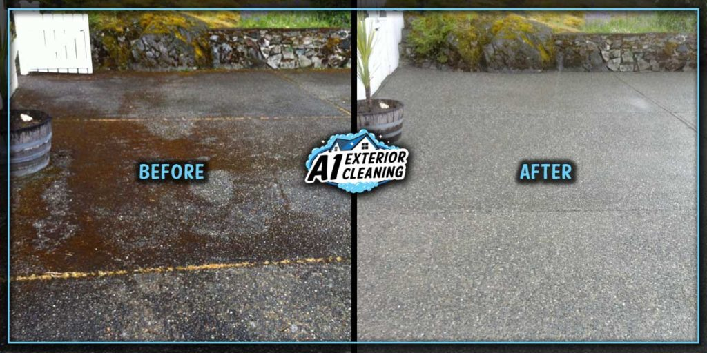 Pressure washing cleans out the drainage channels of concrete driveways to allow efficient draining of water.