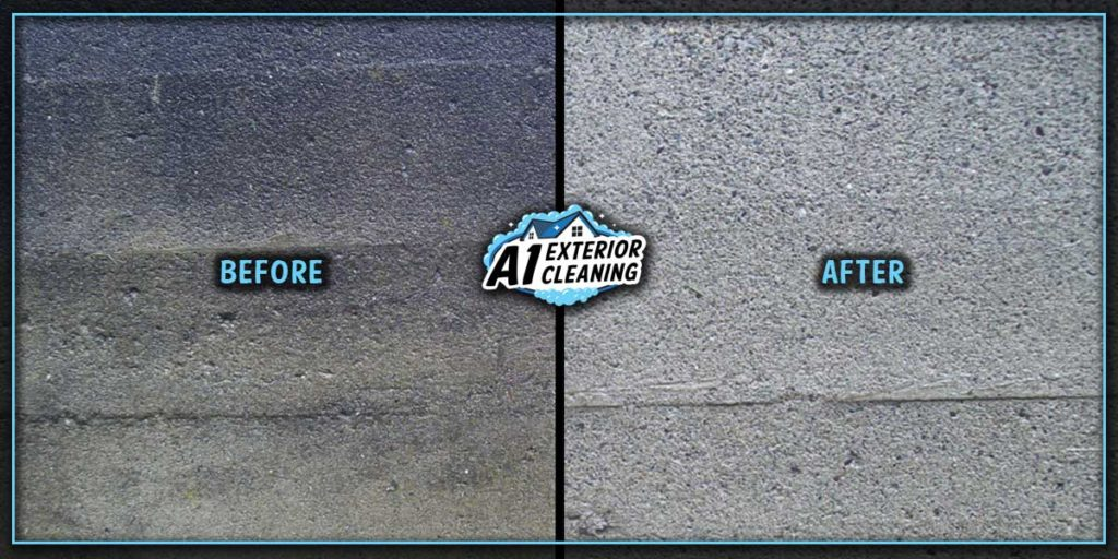 Pressure Washing Detail of Treated Concrete Before & After.