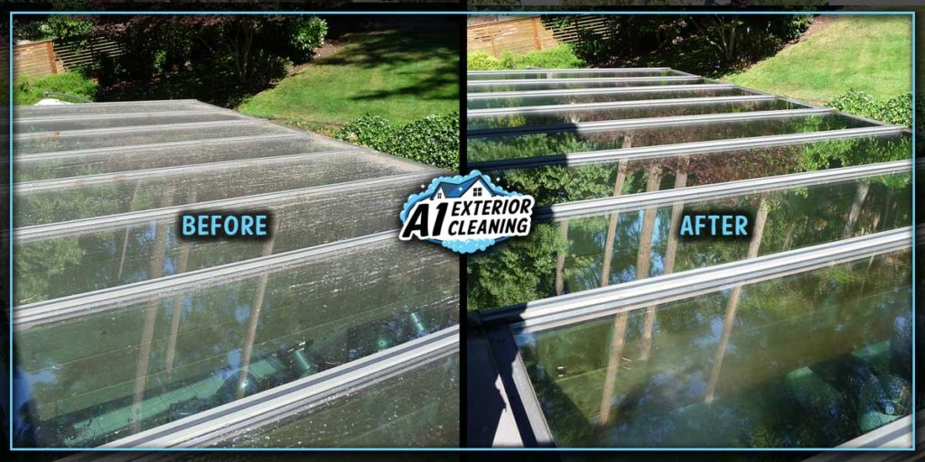 Shallow glass, such as sunrooms and some skylights require regular cleaning due to settling debris and dust.