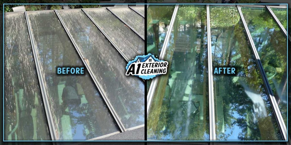 We use a gentle method to remove baked on dirt for sun rooms and skylights.